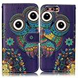 COZY HUT Huawei P10 Case Premium Folio PU Leather Credit Card/Cash Holder Slots Wallet Fashion Ultra Slim Fit Protective Case Cover Huawei P10 - Cartoon owl