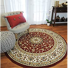 Wonderful New Red Traditional Persian Area Rugs 5x5 Round Rugs 5ft Round Shape Living  Room Rug Round
