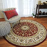 (US) New Red Traditional Persian Area Rugs 5x5 Round Rugs 5ft Round Shape Living Room Rug Round Rugs Clearance