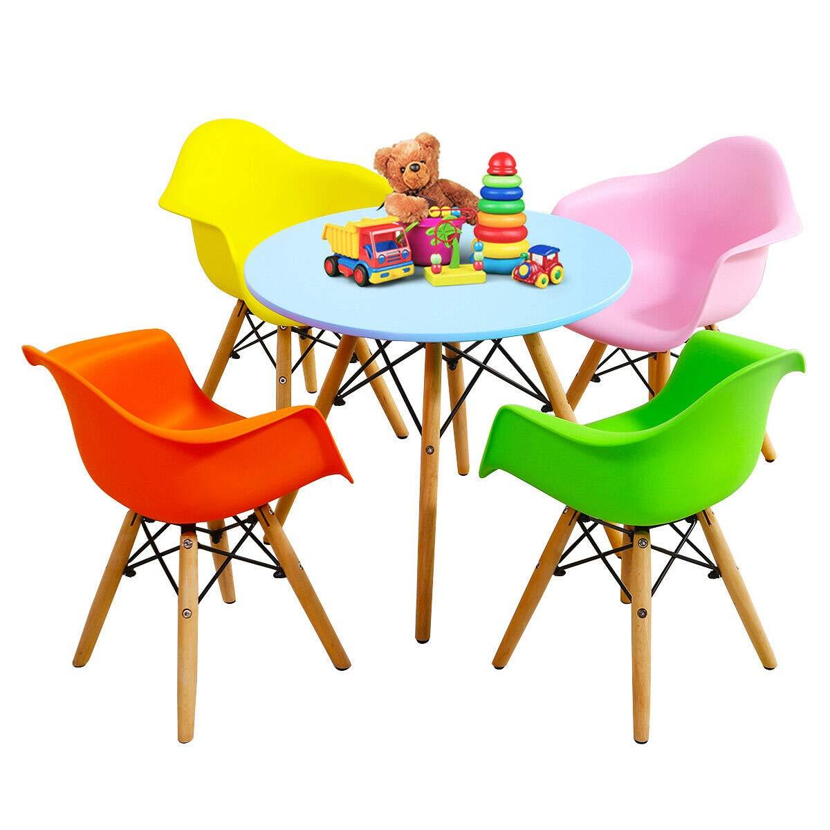 Swell Amazon Com 5 Piece Colorful Mid Century Modern Kids Round Ibusinesslaw Wood Chair Design Ideas Ibusinesslaworg
