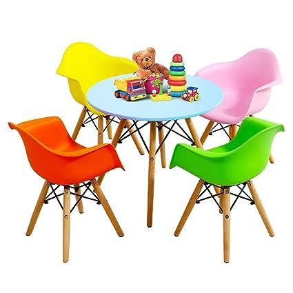 Amazon.com: Juego de mesa y sillas redondas para niños con ...