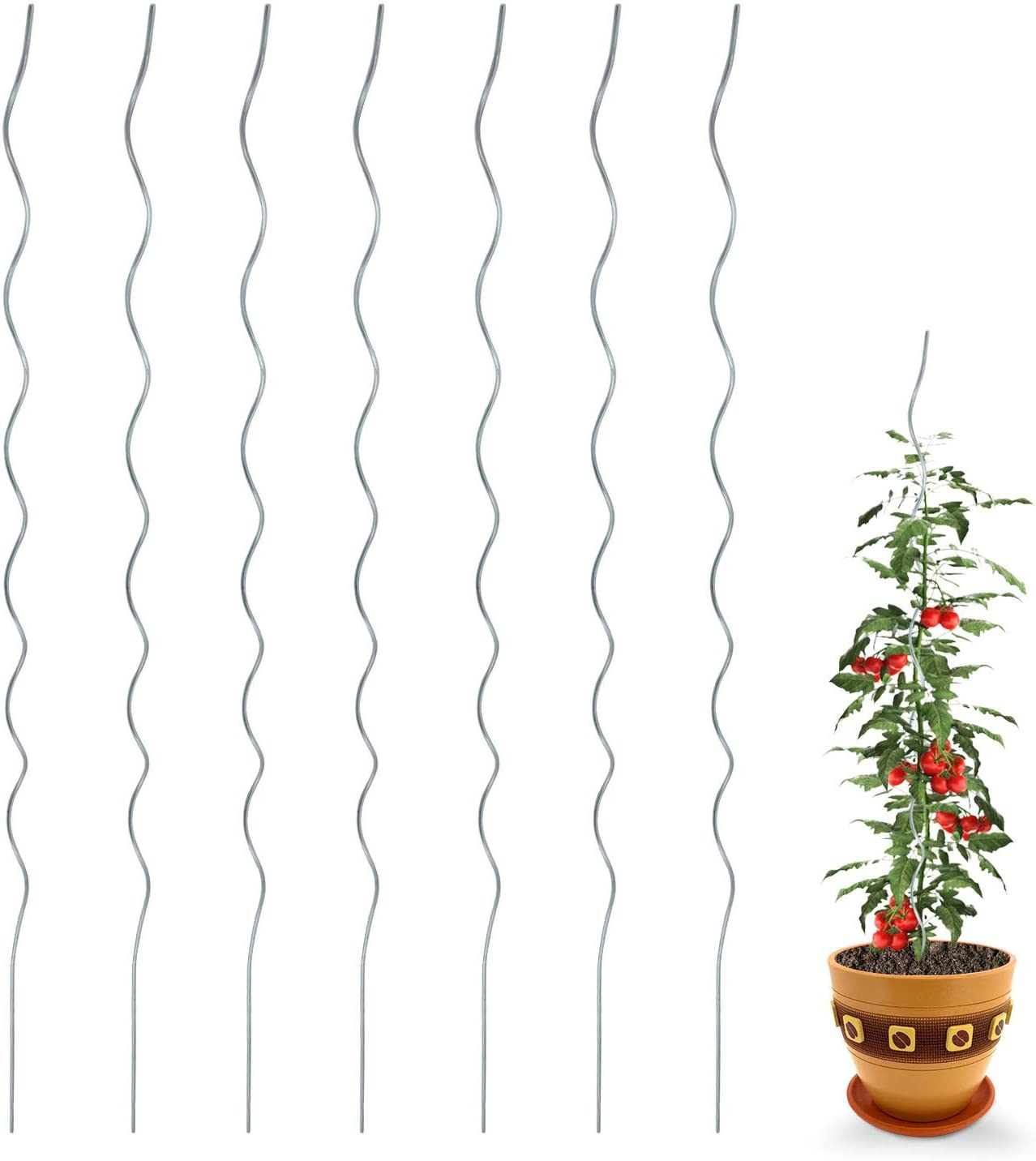 CEED4U 24 Packs 59 Inches Plant Supports Spiral Tomato Cages, Diameter 6mm, Steel Climbing Plants Stake Tower for Garden Balcony Yard Veggie Vine Plants