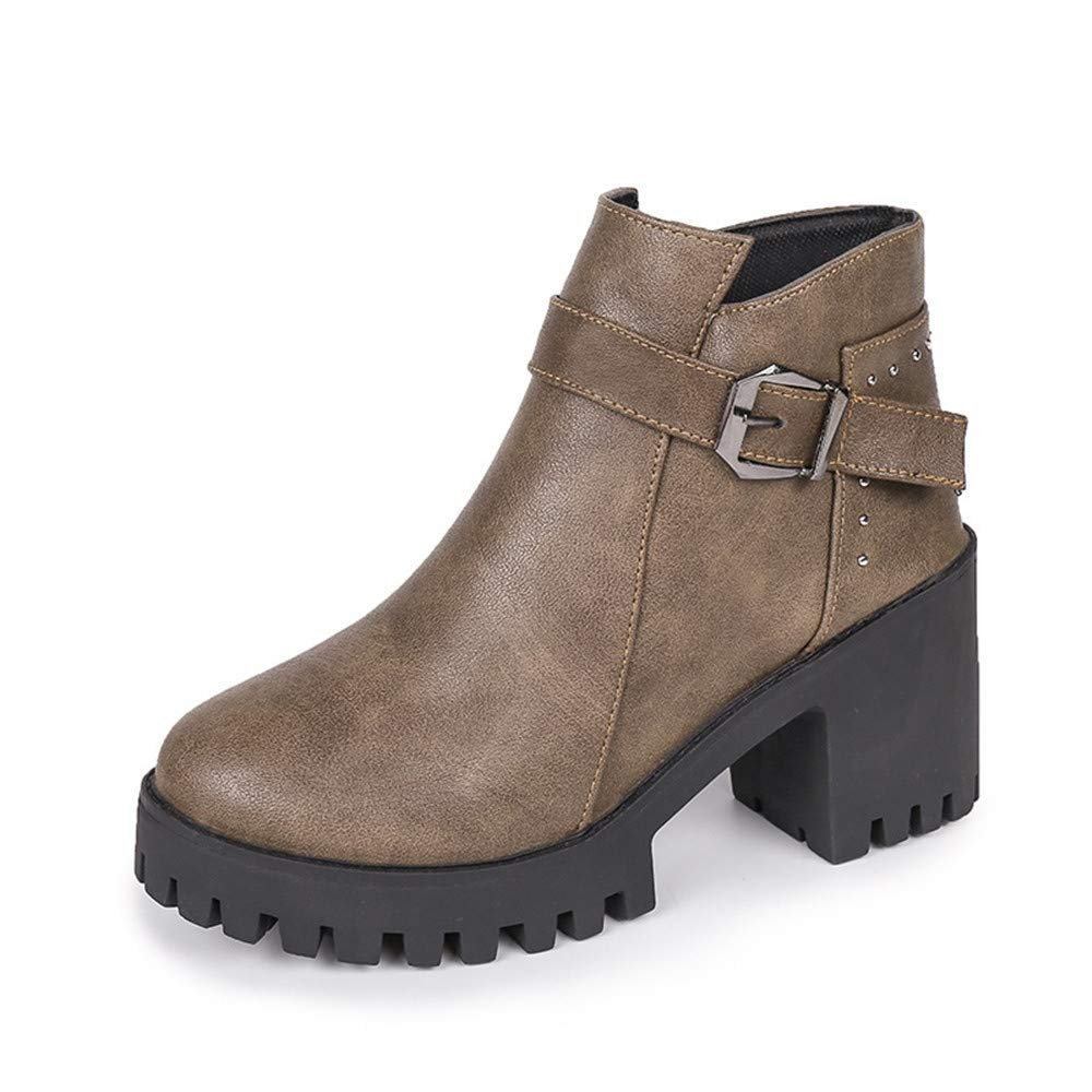Eeayyygch High Heels Martin Stiefel Plus Baumwoll Baumwoll Baumwoll Stiefel Martin Stiefel weiblicher runder Kopf dick (Farbe   39, Größe   Khaki) 5dd2a3