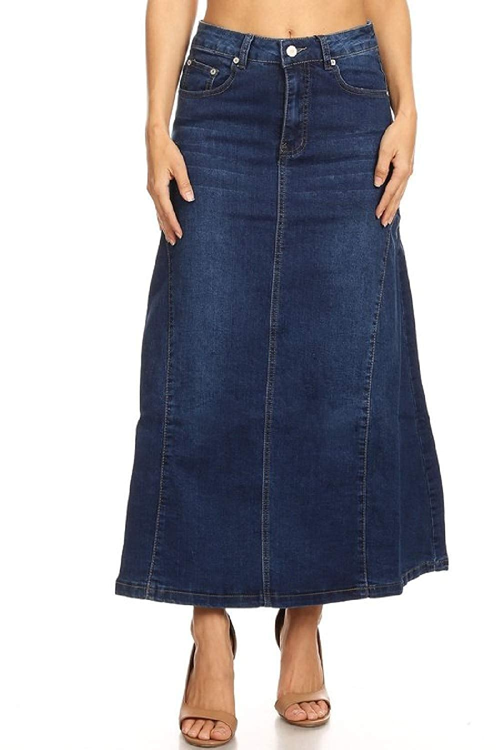 b989800a36e Women s Juniors Mid Rise A-Line Long Jeans Maxi Denim Skirt at Amazon  Women s Clothing store