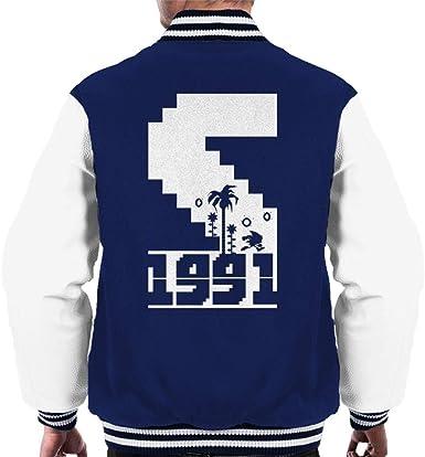 Sonic The Hedgehog 1991 Pixel Graphic Men S Varsity Jacket Amazon Co Uk Clothing