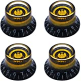 mxuteuk 4pcs Custom Bell Knobs Black w/Gold Custom Electric Guitar Bass Top Hat Knobs Speed Volume Tone AMP Effect Pedal…