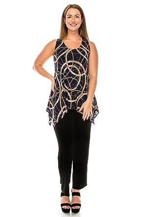 455723737d5 Jostar Women s Stretchy Side Drop Tank Tunic Sleeveless Print Plus 2XL Navy  Lines