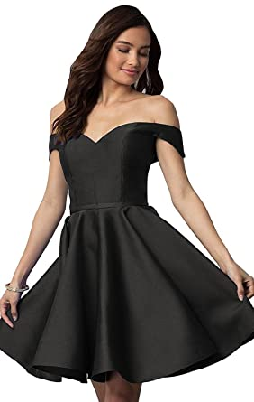 Off Shoulder Homecoming Dresses for Juniors Satin A-Line Short Prom Dresses 2018 Black Size