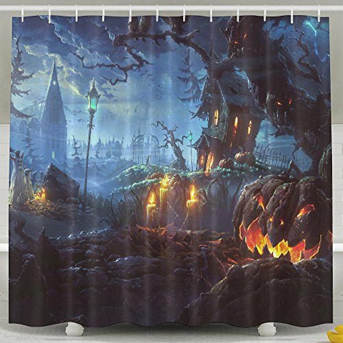 Michael And Kelly Costumes For Halloween (Happy Halloween 100% Polyester Shower Curtain Waterproof Fabric Bathroom Decor Shower Curtain 60''X72'',72''x72'' And 72''X78'' Inches Included Rings Shower Curtains)
