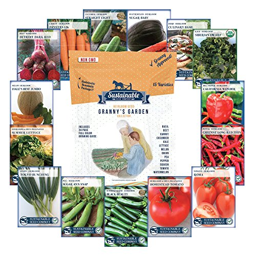 6,600+ Heirloom Seeds, 15 Variety Granny's Garden, Non GMO Heirloom Vegetable Garden Seeds, Beet, Carrot, Cucumber, Basil, Kale, Lettuce, Melon, Onion, Pea, Pepper, Squash and Tomato Seeds