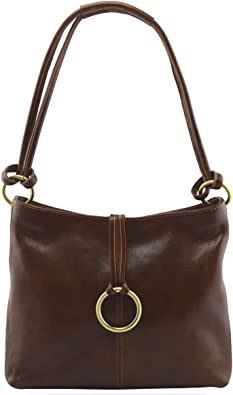 Genuine Leather Shoulder Bag Color Brown