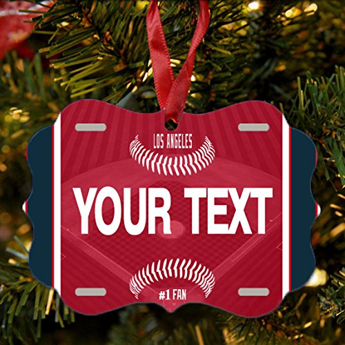 BRGiftShop Personalize Your Own Baseball Team Los Angeles Red Christmas Tree Ornament