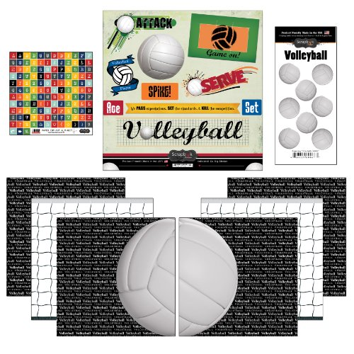 Volleyball Scrapbooking - Scrapbook Customs Go Big Volleyball Themed Paper and Stickers Scrapbook Kit