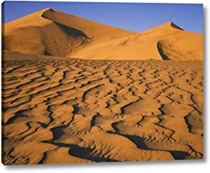 """Sand Dune at Eureka Dunes in Death Valley, CA by Dennis Flaherty - 12"""" x 15"""" Gallery Wrapped Giclee Canvas Print - Ready to Hang"""