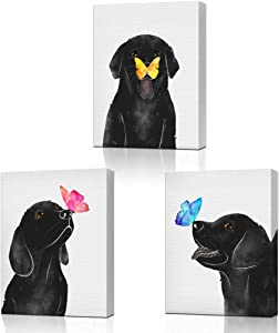 """KLVOS Dog Animal Wall Art for Nursery Room Butterfly on Dog Nose Kids Bed Room Wall Decor 3 Panel Black and White Puppy Prints Picture for Pet Shop 12""""x16""""x3 pcs"""