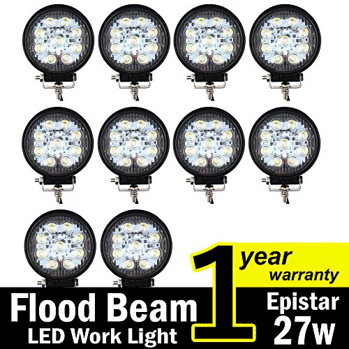 TMH 27w Round Shape 60 Degree LED Work Light Flood Beam Spot Lamp Driving Light, Jeep, Off-road, 4wd, 4x4, Utv, Sand Rail, Atv, Suv, Motorbike, Motorcycle, Bike, Dirt Bike, Bus, Trailer, Truck, Train, Mining Truck, Excavator, Bulldozer, Crane, Road Roller, Fork Lift, Fire Engine, Police & Rescue Vehicle, Military Vehicle, Camping, Courtyard Lamp, Fishing, Boat, Yacht, Road Lamp, Tractor, Golf, Street Light, Fog Lamp, Day Light, Marine Deck Pack of 10