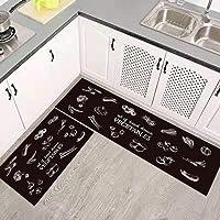 ZKZNsmart Set of 2 Non-Slip Kitchen Rugs and mats Rubber Backing Doormat Runner Rugs (15