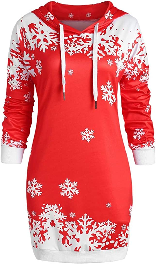 FRCOLT Women Merry Christmas Snowflake Printed Tops Hooded Sheath Long Sweatshirt