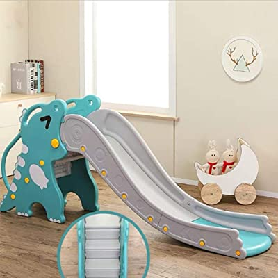 ROLENUNE 4-in-1 Slide for Kids Toy Children Basketball Hoop Boy Girl Indoor Outdoor Toddler Backyard Climber Play Plastic Dinosaur Slide with Ring Toss Game Playground Set Age for 4 5 6 Year Old(Blue): Toys & Games