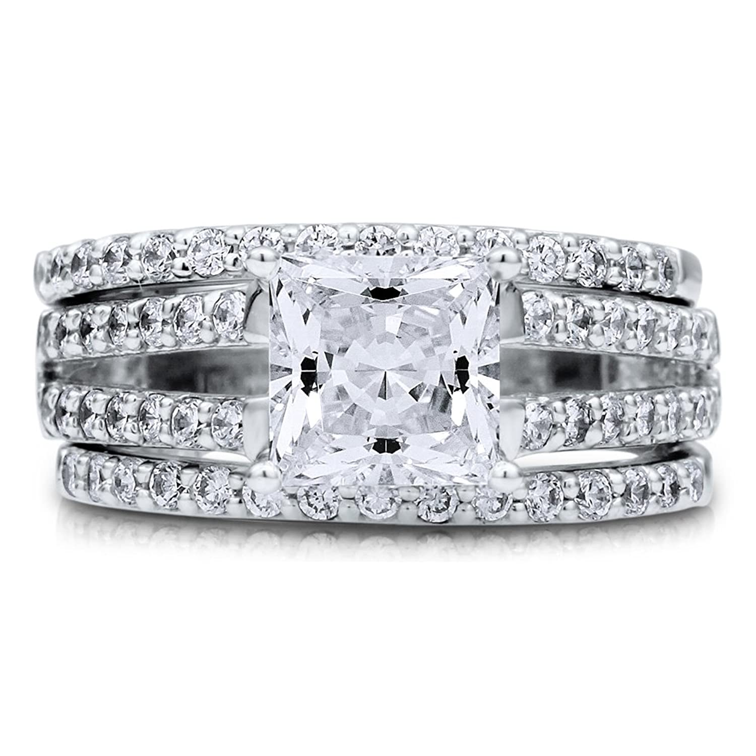 Amazoncom BERRICLE Rhodium Plated Sterling Silver Princess Cut