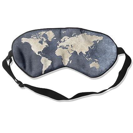 Cómoda máscara de dormir con diseño de mapa para viajar, noche, mediación, yoga