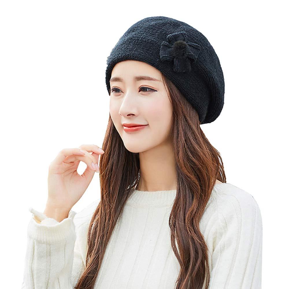 96831cae62a Amazon.com  GREFER Fashion Womens Flower Knit Crochet Beanie Hat Winter  Warm Cap Beret  Clothing