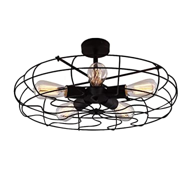 Industrial Vintage Semi Flush Mount Ceiling Light - LITFAD 21  Chandelier Barn Metal Hanging Fixture With 5 Lights Painted Finish