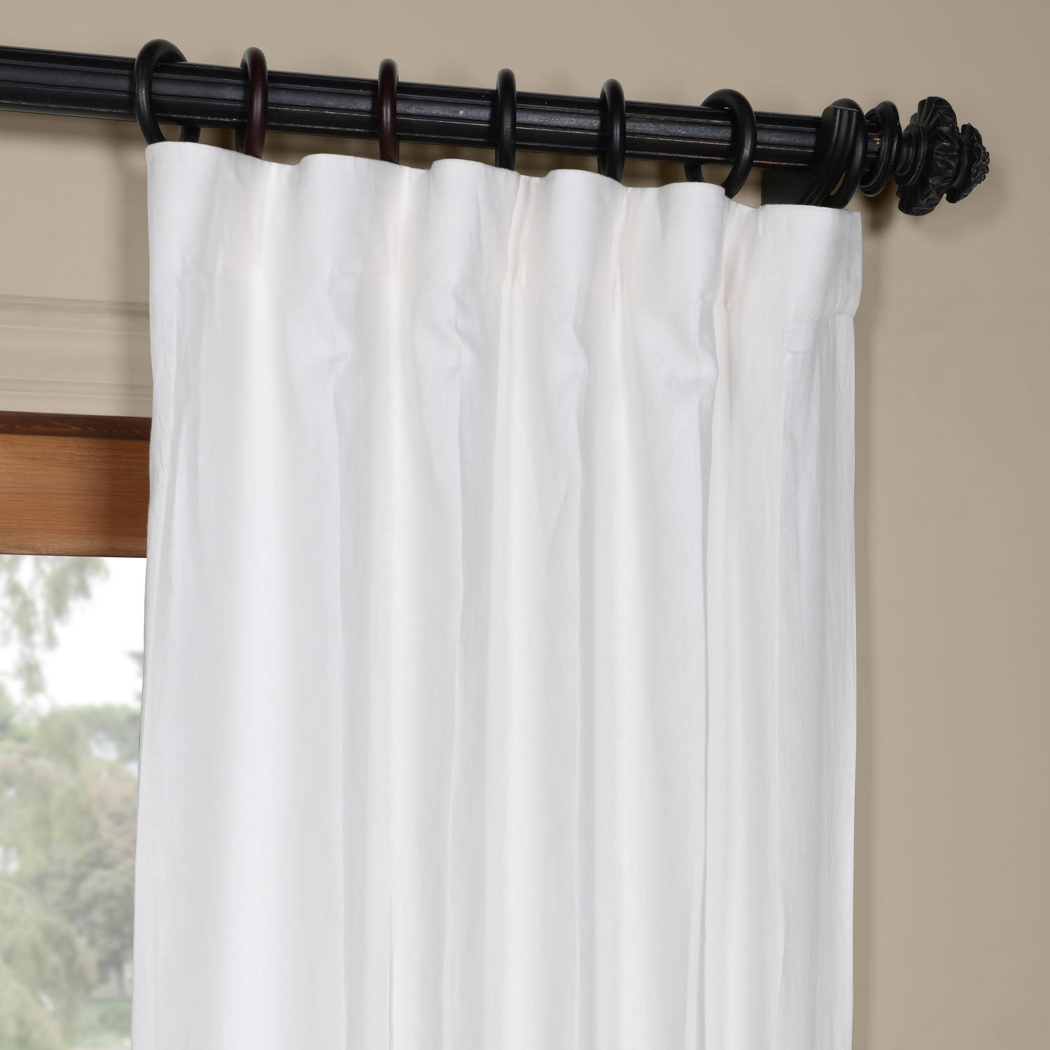 Half Price Drapes French Linen Curtain Crisp White