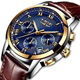 Men's Fashion Business Watch Luxury Chronograph Watch Quartz Watch Casual simulation watchWaterproof Watch Blue Dial