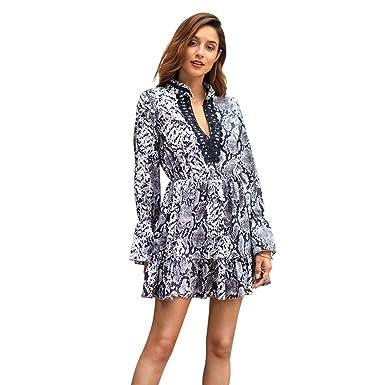 eb67caf77e718 Amazon.com: XZ Ladies Dress Long Sleeve Elegant Short v- Neck Spring ...