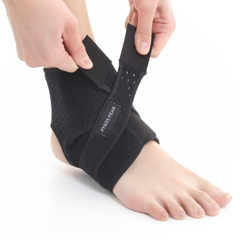 Ankle Support Brace - Quality Breathable Mesh Material with Open Heel & Adjustable Tightness - Supports Protects & Aids in the Natural Recovery of Ankle Strains Sprains Arthritic Pain Relief