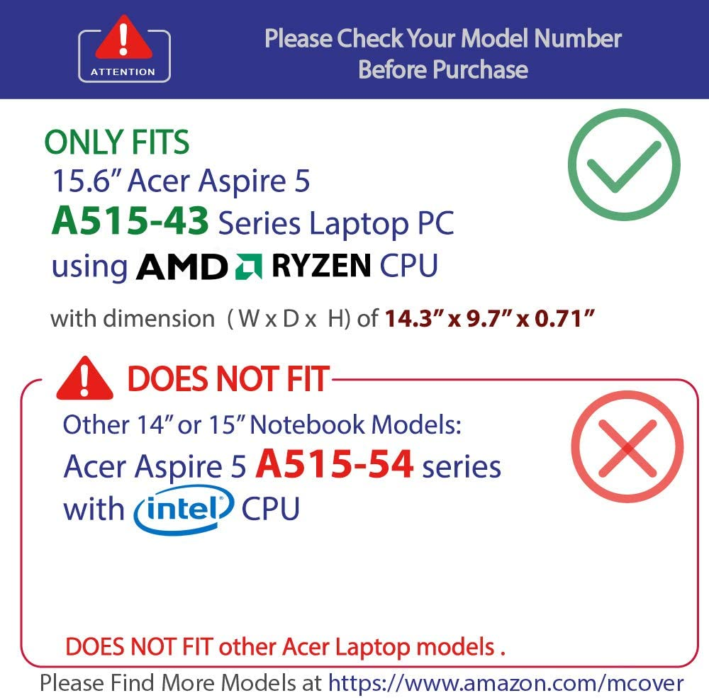 mCover Transparente no Compatible con Cualquier Otro Aspire 5 15.6 A515-52, A515-51, etc. Carcasa r/ígida para Acer Aspire 5 A515-54 de 15,6 Pulgadas