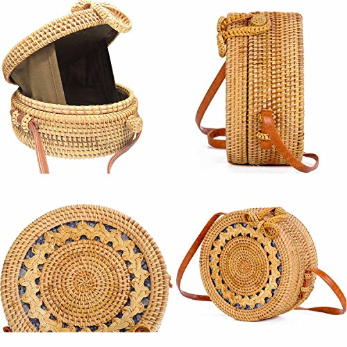 Womens YaYa Bali Rattan Ata Bag Bow Handbag Beauty Tote with Bag Crossbody Woven Pattern Round Clasp wq4dEII5x