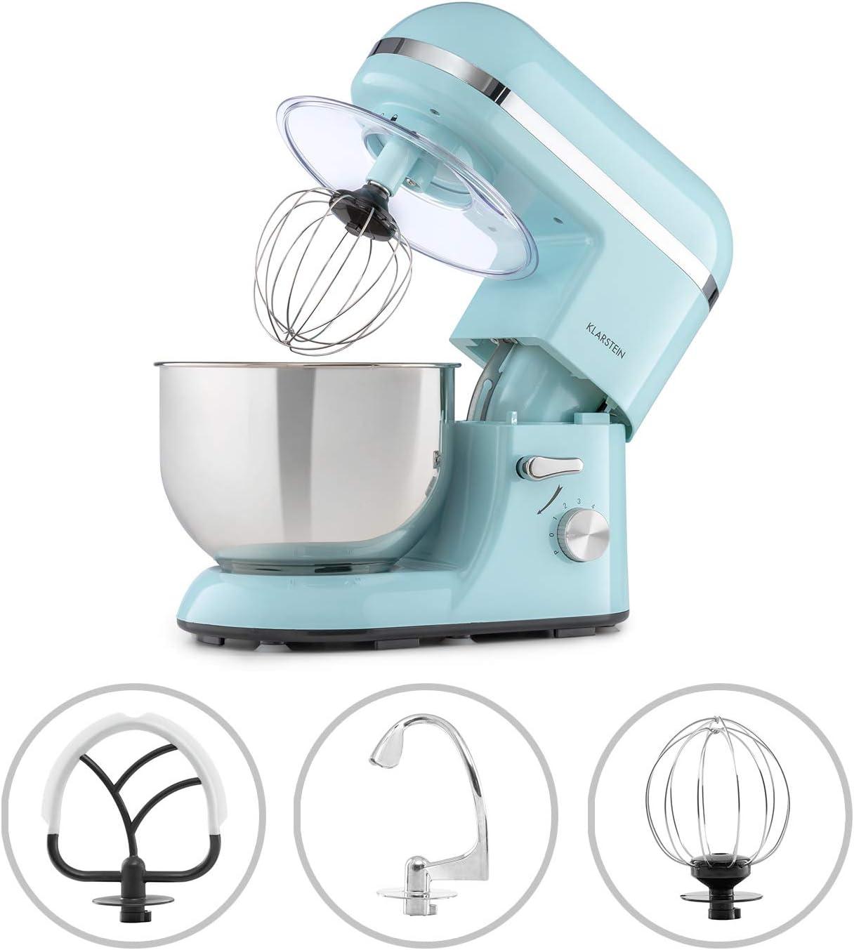 Klarstein Bella Elegance - Robot de cocina, Potencia 1300W/1,7PS, 6 niveles, Función pulso, Sistema de amasado planetario, 5 L, Cuenco acero inoxidable, Inclinación, Bloqueo de seguridad, Azul