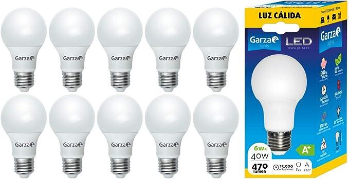 Garza ® – Bombilla LED de bajo consumo estandar A60 E27 de 470LM y ...
