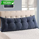 VClife Reading Pillow for Adults Kids Cotton Large Filled Triangular Wedge Cushion Sofa Bed Backrest Positioning Support Pillow with Removable Cover, Twin Bed Rest Pillows, Jeans Blue