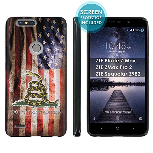 - [Case86] Gel Gummy Phone Case [Black] for ZTE Blade Zmax Pro 2/ZTE Sequoia Silicone Rubber Gel Phone Cover [SCREEN PROTECTOR INCLUDED] - [Flag Distress]