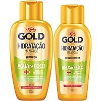 Kit Niely Gold Shampoo + Condicionador Hidratação Milagrosa Água de Coco + Babosa, Niely, 450ml