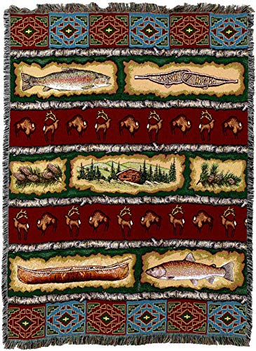 Pure Country Weavers - Stripe Lodge Cabin Hunting Decor Woven Tapestry Throw Blanket with Fringe Cotton USA - Decor Lodge Fishing