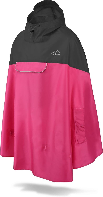 Wind und Wasserdicht mit Bauchtasche normani Unisex Regenponcho 3M Refelktoren und seitlichen Eingriffen Farbe Schwarz//Pink Gr/ö/ße L