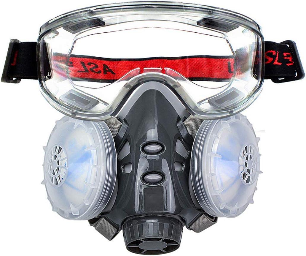 GJQ Cubierta de la Cara Media, Reutilizable Equipo de respiración con Gafas de Seguridad para la Pintura, Polvo, partículas, máquina de Pulido, Soldadura y Otras Protecciones de Trabajo,Respirators