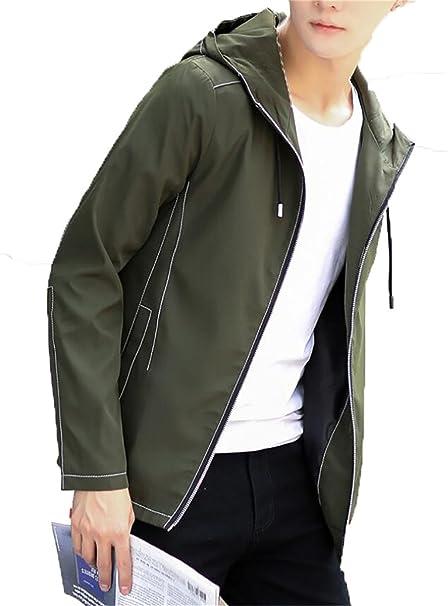 5a19ca61f BYWX-Men Long Sleeve Waterproof Hooded Lightweight Windbreaker Jacket Coats  at Amazon Men's Clothing store: