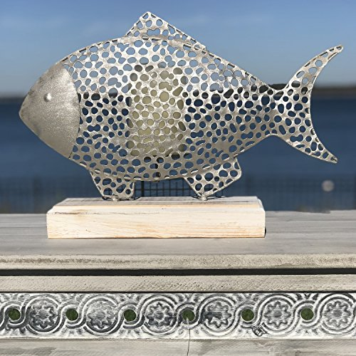 Whole House Worlds The Cape Cod Fish Candle Holder and Screen, Coastal Style, Rustic Weathered Metal and Bleached Wood Base, For Votive Candles, 15 ¾ L x 5 W x 10 ½ H Inches, By by Whole House Worlds