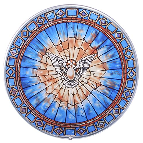 Stained Glass Panel - The Holy Spirit Round Stained Glass Window Hangings - Art Glass Window Treatments - Stained Glass Art