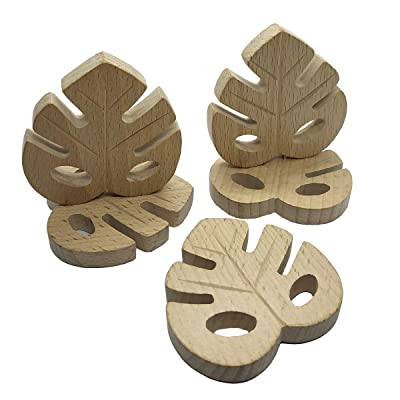 Alenybeby 5pcs Organic Baby Teething Product Beech Wooden Leaf Shape Teether DIY Wood Pendent Eco-Friendly Safe Baby Chew Toys (5pcs): Toys & Games