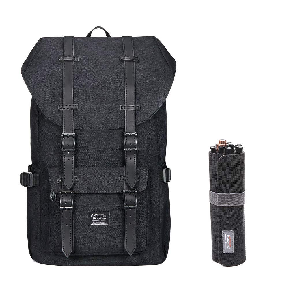 Laptop Outdoor Backpack, Travel Hiking& Camping Rucksack Pack, Casual Large College School Daypack, Shoulder Book Bags Back Fits 15'' Laptop & Tablets by Kaukko (black1044-2)
