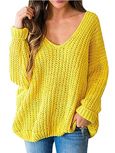 Huiyuzhi Women's Oversized Pullover Sweaters Off Shoulder V Neck Batwing Sleeve Loose Knit Chunky Sweatshirt Jumper Tops
