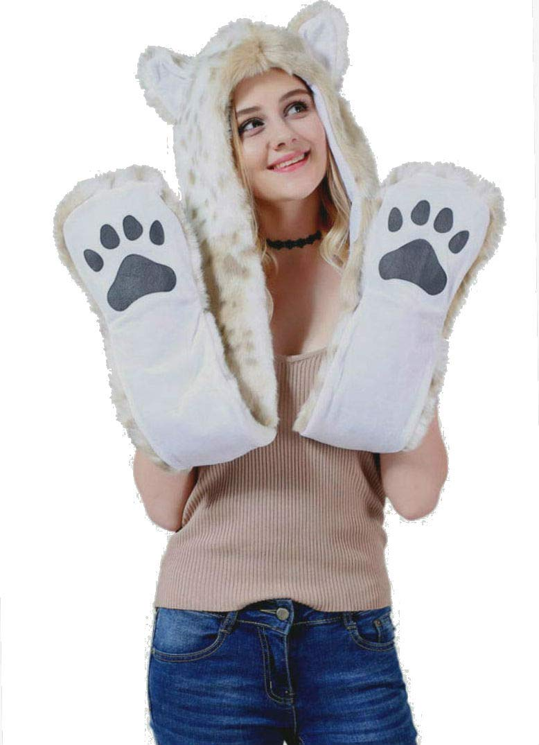 Halloween Costume Snow Leopard Animal Anime Hood Cosplay Party with Paws and Ears Zipper Pocket