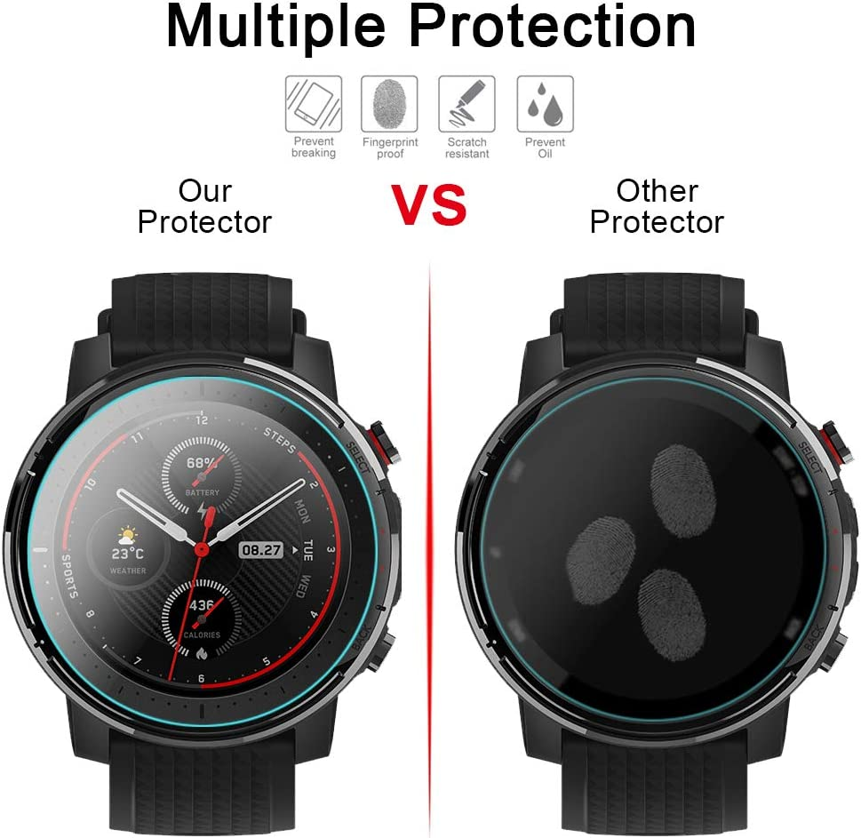 Smilego Soft TPU Screen Protector Case Cover Bumper Black 2 Packs Tempered Glass Screen Protector Film Replacement for Amazfit Stratos 3 Smartwatch +