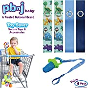 PBnJ baby Toy Saver Strap Holder Leash Secure Accessories Dinosaurs/Blue/Navy - 4pc